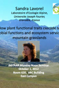 Noon seminar - How plant functional traits cascade to microbial functions and ecosystem services