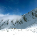 The clouds lift from a ridge above Green Lakes Valley, Colorado, during the annual snow survey, 11 May 2011. Photo by Danielle Perrot.
