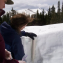 Leah M.and Danielle P. take snow samples from the Saddle site (3345 m) at Niwot Ridge for water quality analysis. Photo by Leah Meromy, May 2011.