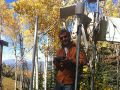 Dominik Schneider repairing depth sensor array in Steamboat, CO, fall 2014. Photo: Emily Baker.