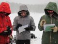 Recording data in the snow.