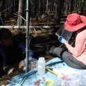 Sara Hayes and I installing suction lysimeters in a soil pit.