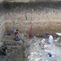 Excavation of Kostenki 1 (Layer V) by A.V. Dudin in August 2007 (photo by J.F. Hoffecker).