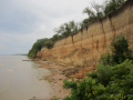 Exposed Quaternary sediment on west bank of Dnepr Reservoir south of Zaporozhye (photo by J.F. Hoffecker).