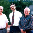 Past and present INSTAAR Directors Pat Webber, James Syvitski, and Mark Meier atop the University Memorial Center at the NSF Arctic System Science (ARCSS) party, 1995.