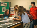 Researcher Anne Jennings explores sedimentation in the oceans with students. Photo by Shelly Sommer, April 2014.
