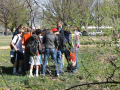 Students gather by Boulder Creek for hands-on experiments. Photo by Shelly Sommer, April 2012.