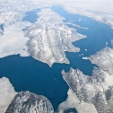 The researchers flew to the field site in northwest Greenland. Photo by Tyler Jones.