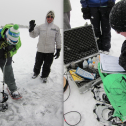Left: Students use an ice auger on frozen Gold Lake. Taking turns with the auger is one way to stay warm on the ice! Right: The Hydrolab allows readout of barometric pressure, depth, water temperature, pH, specific conductance, and dissolved oxygen.