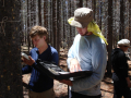 Taking readings from a data logger.