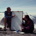 Billy Armstrong teaches crevasse formation to students on the Juneau Icefield Research Program. Aug 2016.