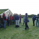 At a farm location near the study site, Viðar Hreinsson of the Reykjavik Academy gives an outdoor lecture on the use of farm buildings in times past. Photo by Astrid Ogilvie, August 2014.