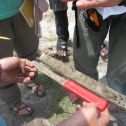 Measuring sediment deposits associated with Cyclone Aila, which made landfall in 2009 in Bangladesh.