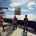 Deploying a 36-bottle CTD rosette into the Southern/Indian Ocean aboard the R/V Revelle as part of the GO-SHIP I08S line (2016). Photo credit: Cara Nissen (ETH Zurich).